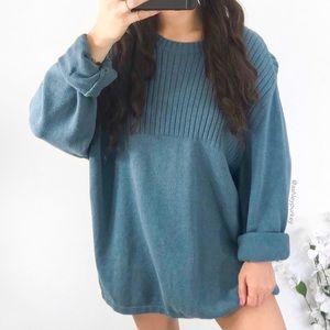 vintage dusty blue knit sweater